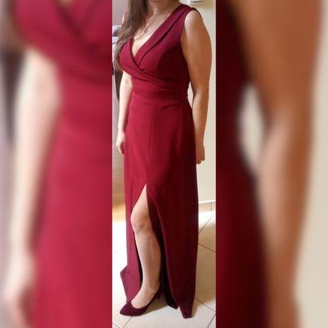 elegancka suknia długa bordowa rozmiar 36