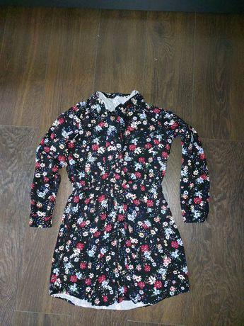 Sinsay śliczna sukienka szmizjerka jesień kwiaty dziewczynka 158/164