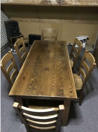Meble holenderskie, stół dębowy z krzesłami, krzesla drewniane