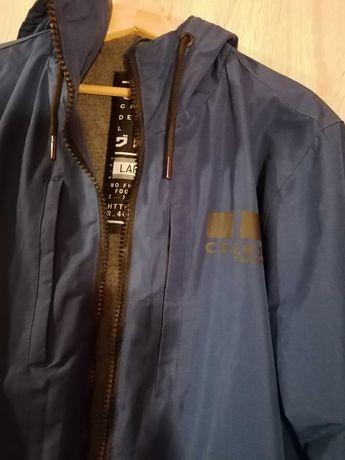 Niebieska kurtka Cropp z kapturem