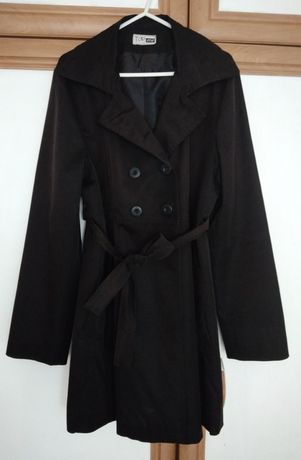 CIĄŻOWY płaszcz trencz jesienny czarny rozm. 42 TOP ONE