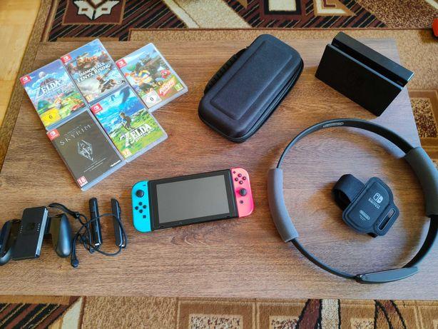 Nintendo Switch V2 + Ring Fit + 20 gier bogaty zestaw