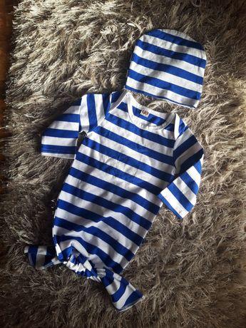 Nowy zestaw niemowlęcy śpiworek i czapeczka