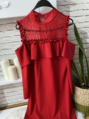 Czerwona sukienka koronka L/XL