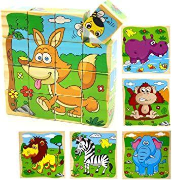 Drewniane klocki puzzle 16 szt. zwierzęta