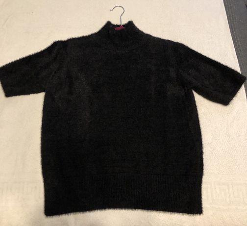 Sweter półgolf czarny alpakowy