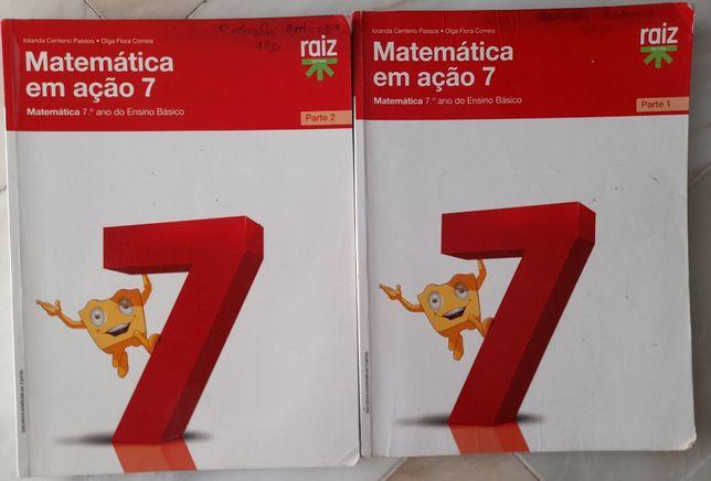 Manuais de Matemática 7ºano (Matemática em ação), parte 1 e 2