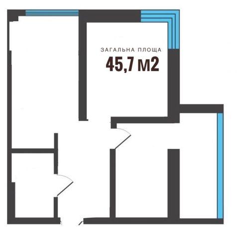 2-кімнатна квартира в ЖК«Сімейна Фортеця», Луцьк - 45,7м2