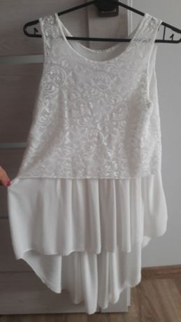 Biała bluzka asymetryczna S-M mgiełka koronka