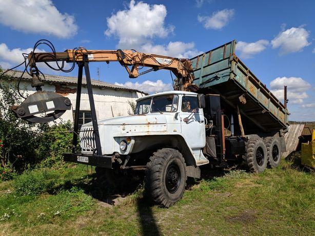 Урал 375Д самосвал с манипулятором Atlas 3006 и прицепом СЗАП 8352