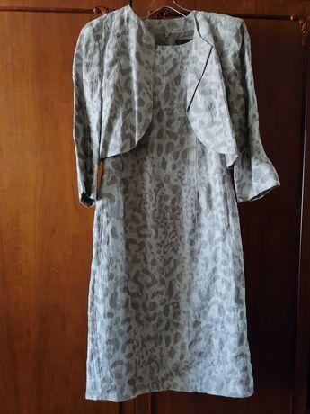 Костюм Платье  жакет лен ALEX&Co леопард белый серый р.46 комплект