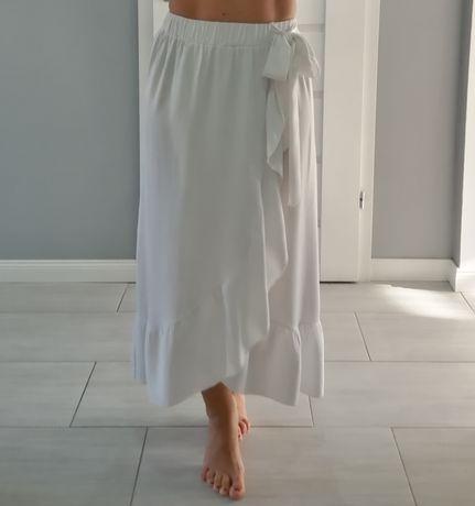 Spódnica asymetryczna, bawełniana, falbana, S/M/L biała