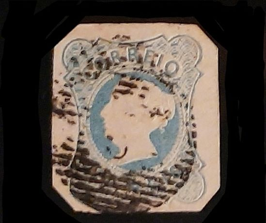 Rainha D. Maria ll selo de 25 Reis de 1853: Anfinsa 2