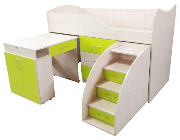 Кровать Чердак комната 5 в 1 Ліжко Бедрум 2-ярус стол тумба комод шкаф