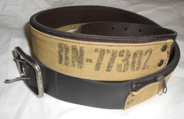 Ремень мужской ZARA кожаный с потайным отделением.