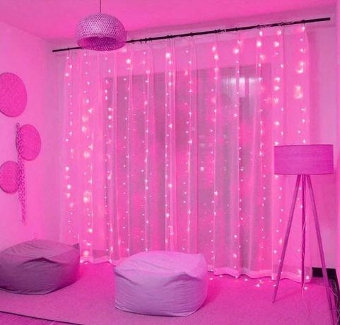Гирлянда штора ярко розовая 3*3 метра на пульте