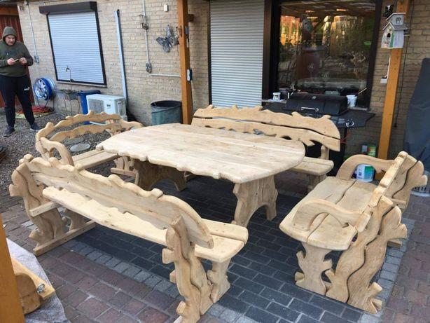 Biesiadne Meble Ogrodowe Stół + 4 Ławki Dębowe Rzeźbione