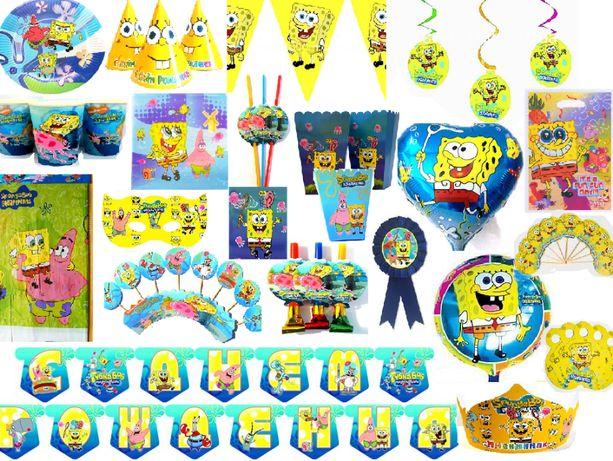 """Декор на день рождения """"Губка Боб""""набор, фотозона, шары, кенди бар"""