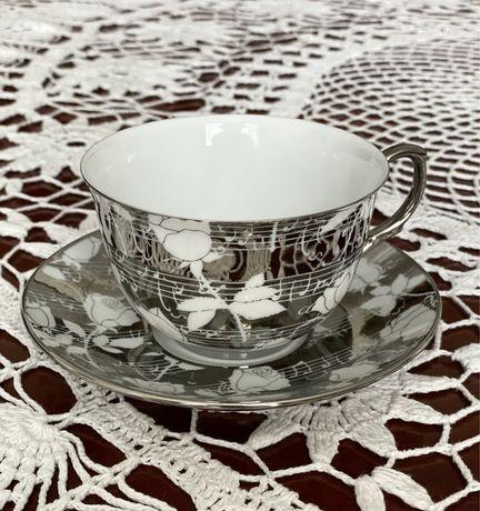 Przepiękna srebrna filiżanka porcelanowa Anlux