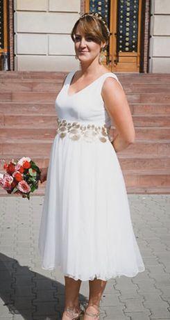 Suknia ślubna biała krótka / wieczorowa r.40 Grecki styl jak nowa