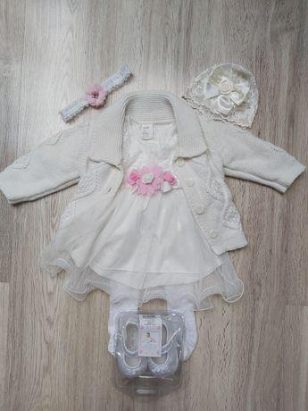 Komplet na chrzest / roczek 74 h&m sukienka sweter
