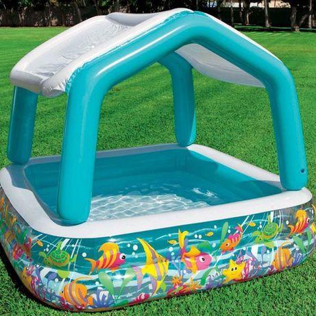 Надувной бассейн Детский басейн с крышей Наливной батут с навесом