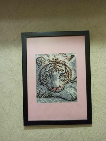 Картина вышитая крестиком, картина ручной работы, тигр