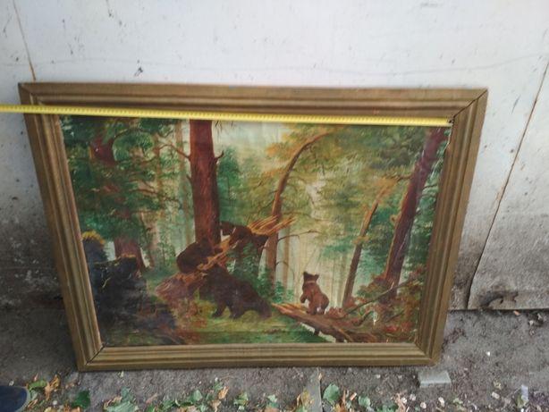 Картина маслом Медведи в лесу, подпись