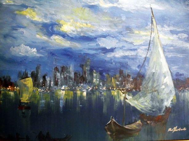linda pintura em óleo sob tela-marinha- assinada: Rui Machado