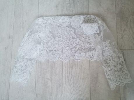 Bolerko ślubne białe XS koronka narzutka