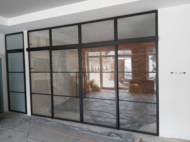 Ścianki, drzwi meble industrialne metalowe, płoty, balustrady loft