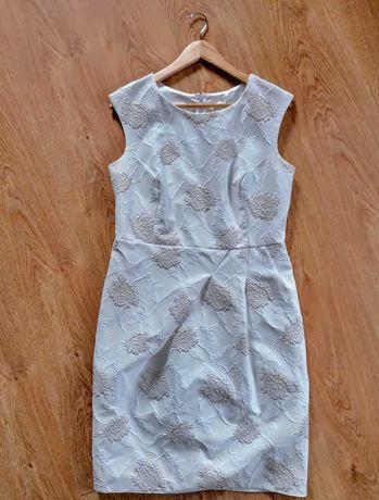 Sukienka damska biała ze złotymi różyczkami rozm 42