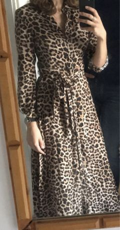 Sukienka ZARA w panterke panterka S maxi midi z paskiem rozciecie
