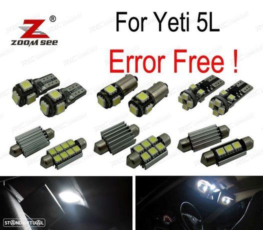 KIT COMPLETO DE 19 LÂMPADAS LED INTERIOR PARA SKODA YETI 5L SUV 2009 +