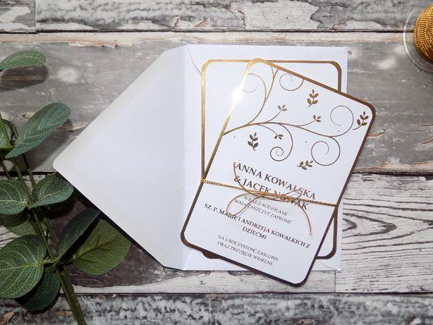 Zaproszenia ślubne złocone delikatne
