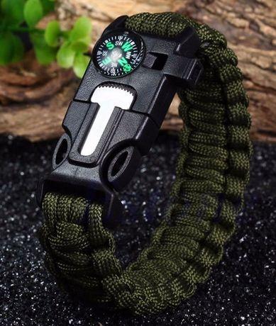 Bracelete em Paracord + compasso de sobrevivência/ Bushcraft