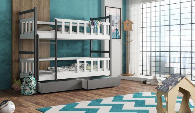 Drewniane łóżko piętrowe dla dzieci Maja z szufladami, materace gratis