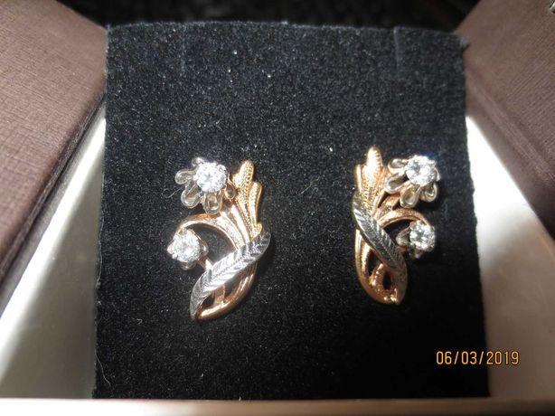 Золотые серьги с бриллиантами СССР