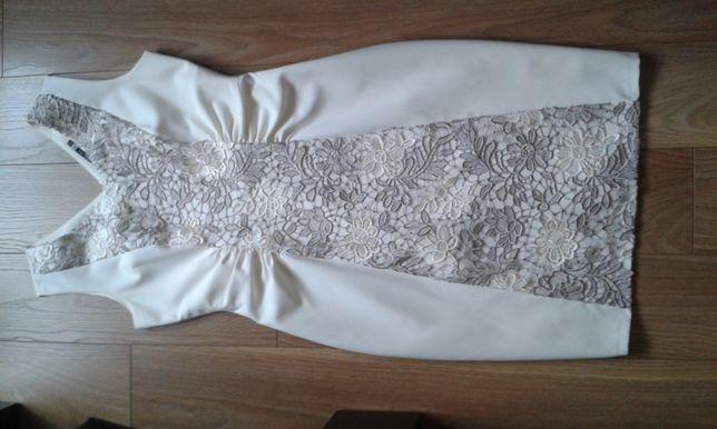 Sukienka ECRU z gipiurą - jak NOWA