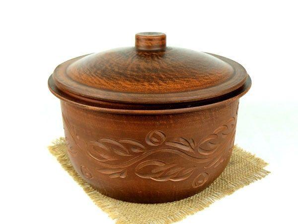 Кастрюля 5 литров из красной глины, гончарная посуда