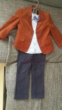 Marynarka, spodnie, koszula i mucha rozm. 98
