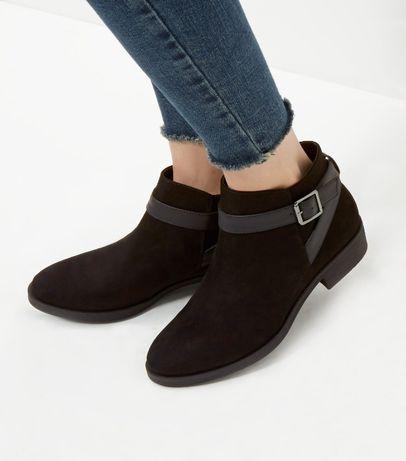 Чёрные замшевые ботинки new look