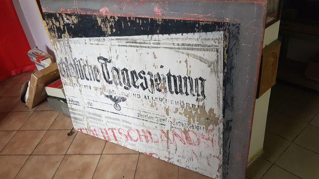 Duża kolekcjonerska tablica szyld gazety okupacja 1941 Breslau vintage