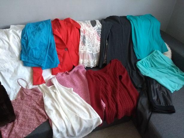Zestaw ubrań damskich spodnie swetry marynarka kamizelka koszulka