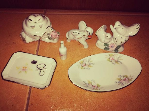 Peças decorativas em loiça e elefante branco em marfinite - as 6 Peças