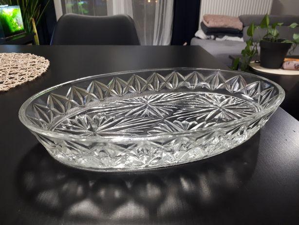 Piękny kryształowy talerz, półmisek
