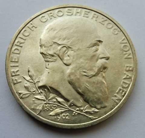 Prusy - Badenia 5 marek 1902 - mennicza