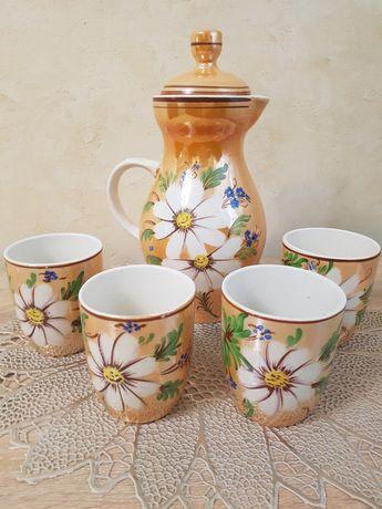 Набор керамический кувшин/глечик  со стаканам