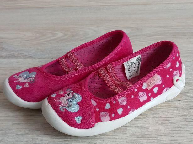 Kapcie Befado r.27 buty różowe z jednorożcem