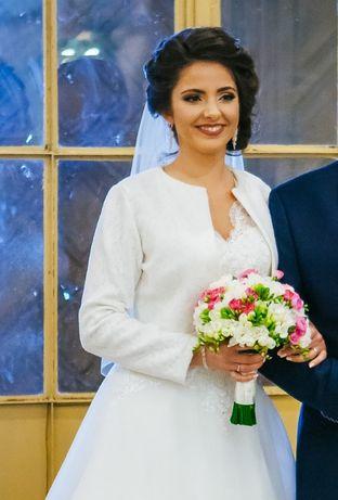 Marynarka ivory idealna do sukni ślubnej, szyta na miarę